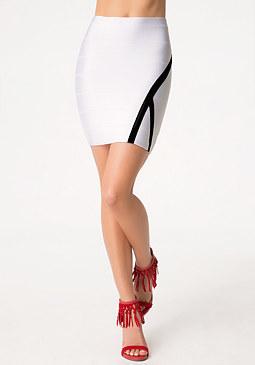 bebe Contrast Trim Bandage Skirt