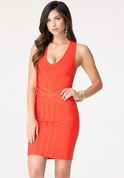 bebe Plunge Neck Bandage Dress
