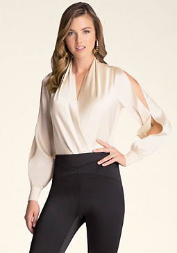 bebe Silk Wrap Front Bodysuit