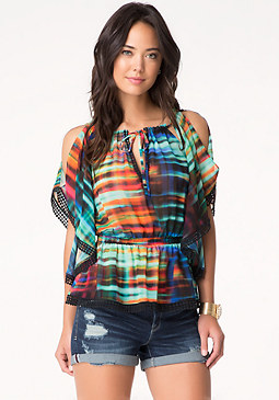 bebe Print Tie Neck Top