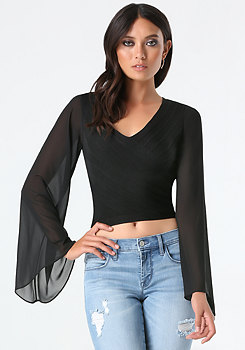 Flare Sleeve Crop Sweater at bebe