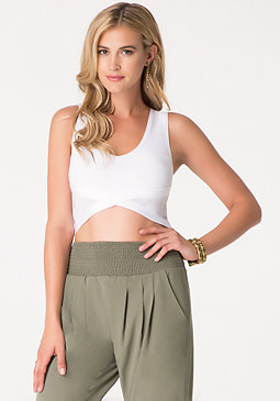 bebe Bandage V-Neck Crop Top