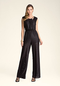 bebe Petite Braid Neck Jumpsuit