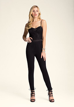Petite Lace Bodice Jumpsuit at bebe