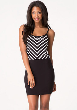 bebe Logo Chevron Striped Dress