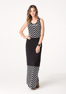 bebe Logo V-Stripe Maxi Dress
