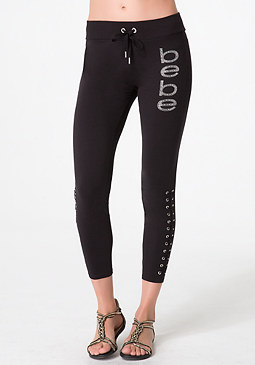 bebe Logo Lace Up Leggings