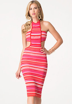 bebe Textured Halter Midi Dress