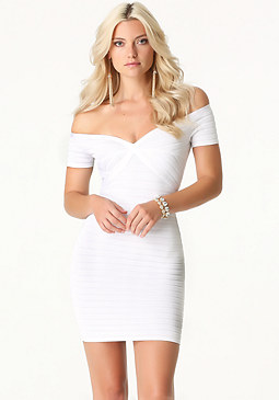 bebe Off Shoulder Ottoman Dress
