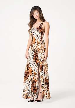 bebe Cheetah Queen Maxi Dress