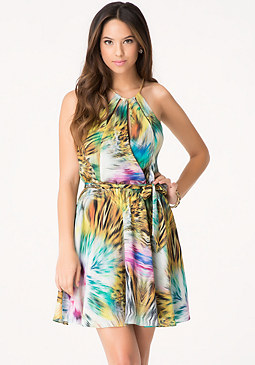 bebe Print Multi Keyhole Dress