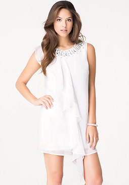 bebe Embellished Ruffle Dress
