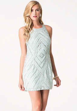 bebe Angled Beading Shift Dress