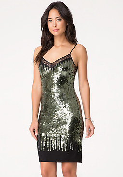 bebe Lace & Sequin Dress