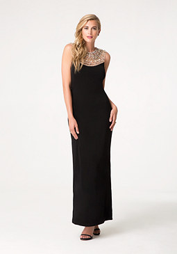 bebe Beaded Yoke Gown