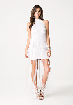 bebe Fringed Crochet Dress