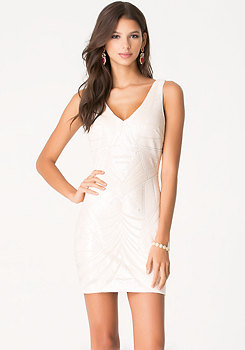 bebe Sequin Double V-Neck Dress