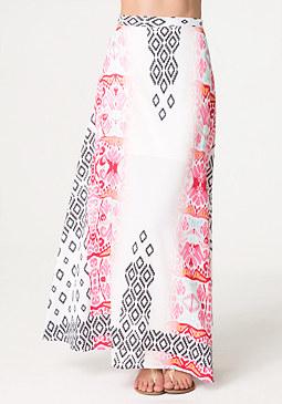bebe Print Woven Maxi Skirt