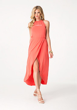 bebe Logo Macrame Maxi Dress