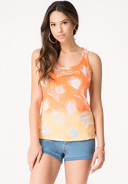 bebe Logo Feather Burnout Tank