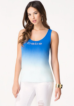 bebe Logo Dip Dye Tank