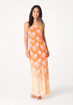 bebe Feather Burnout Maxi Dress