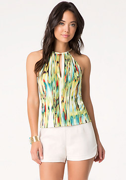 bebe Print Pleat Front Top