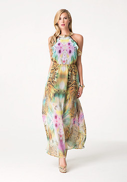 bebe Print Neck Trim Maxi Dress