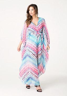 bebe Print Kaftan Maxi Dress