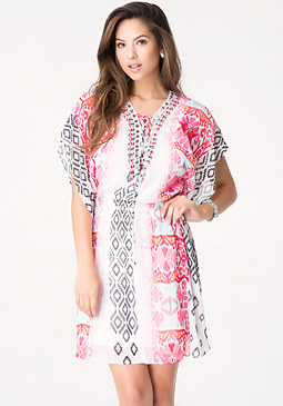 bebe Jewel Lace Up Kaftan Dress