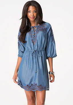 bebe Embroidered Chambray Dress