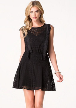 bebe Lace & Fringe Smocked Dress