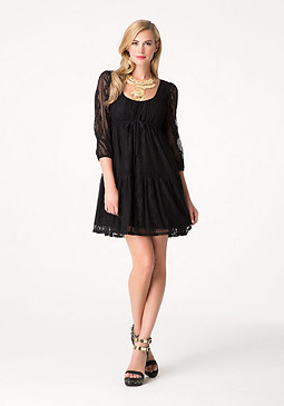 bebe Lace Long Sleeve Dress