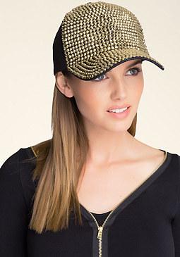 bebe Gold Stud Baseball Cap