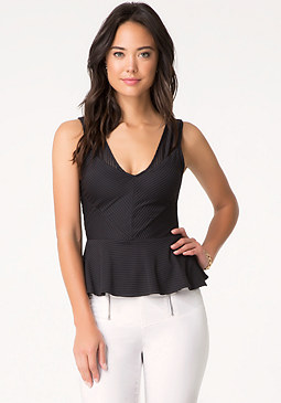 bebe Shadow Stripe Peplum Top