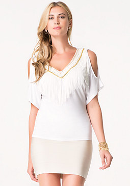 bebe Fringe Neck Top