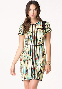 bebe Print Zip Front Dress