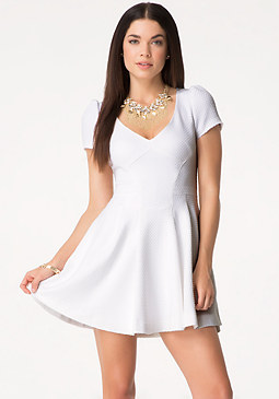 bebe Textured Fit & Flare Dress