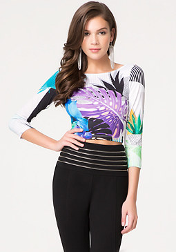 bebe Print Scoopback Crop Top