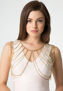bebe Rhinestone Body Chain