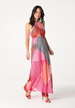 bebe Print Halter Maxi Dress