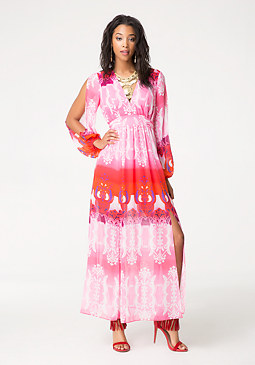 Print Slit Maxi Dress at bebe