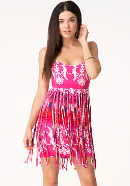 bebe Print Fringed Tank Dress