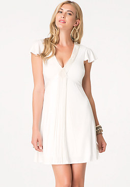 bebe Fringed Tie Back Dress