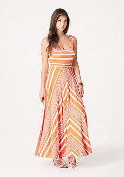 bebe Striped Circle Skirt Dress