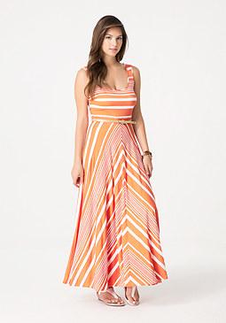 bebe Striped Circle Skirt Dress