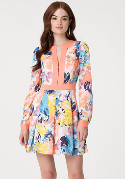 bebe Print Pleated Dress