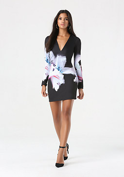 bebe Plunging V Palm Beach Dress