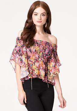 Print Smocked Flutter Top at bebe
