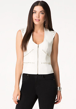 bebe Danica Studded Leather Vest